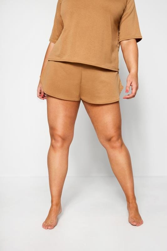 Plus Size Jersey Shorts LIMITED COLLECTION Camel Lounge Shorts