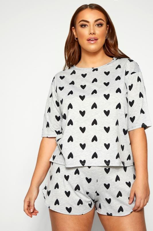 LIMITED COLLECTION Grey & Black Heart Lounge Top