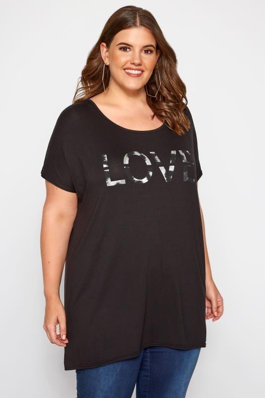 Black 'Love' Slogan T-Shirt