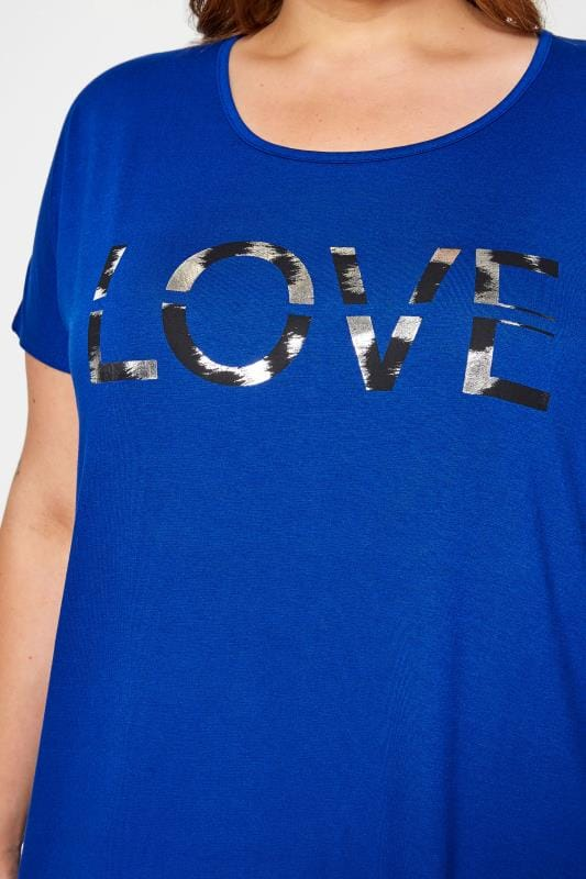 Cobalt Blue 'Love' Slogan T-Shirt