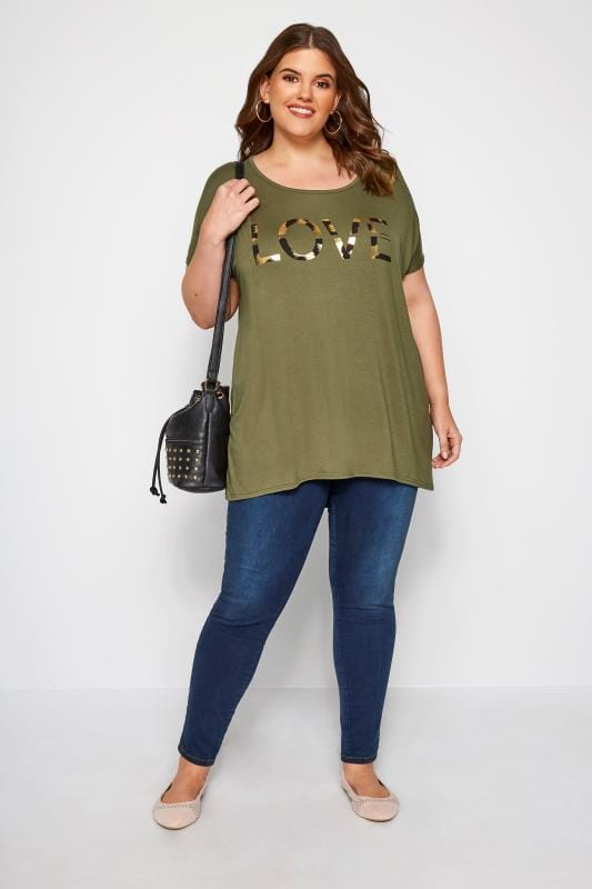 Khaki 'Love' Slogan T-Shirt