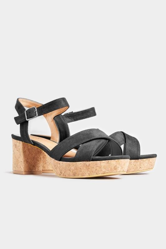 LIMITED COLLECTION Black Cork Heeled Platform Sandals In Extra Wide Fit