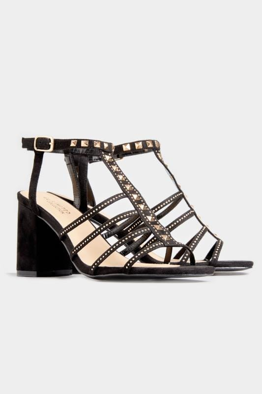 LIMITED COLLECTION Black Studded Block Heel Sandals In Extra Wide Fit