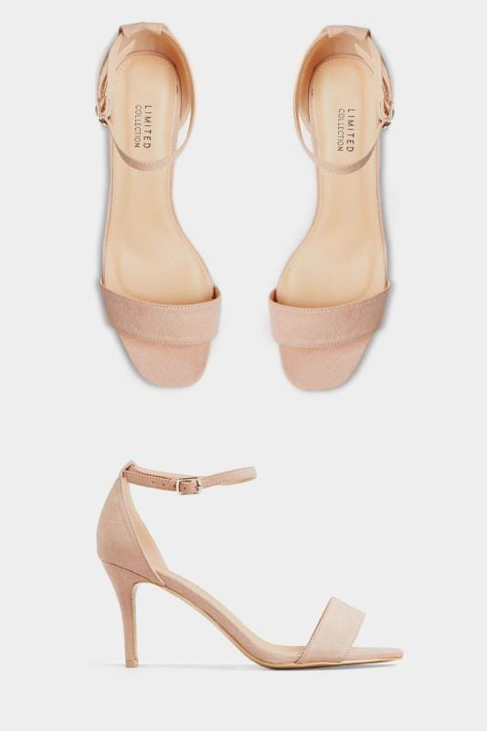 Wide Fit Heels LIMITED COLLECTION Nude Strappy Heels In Extra Wide Fit