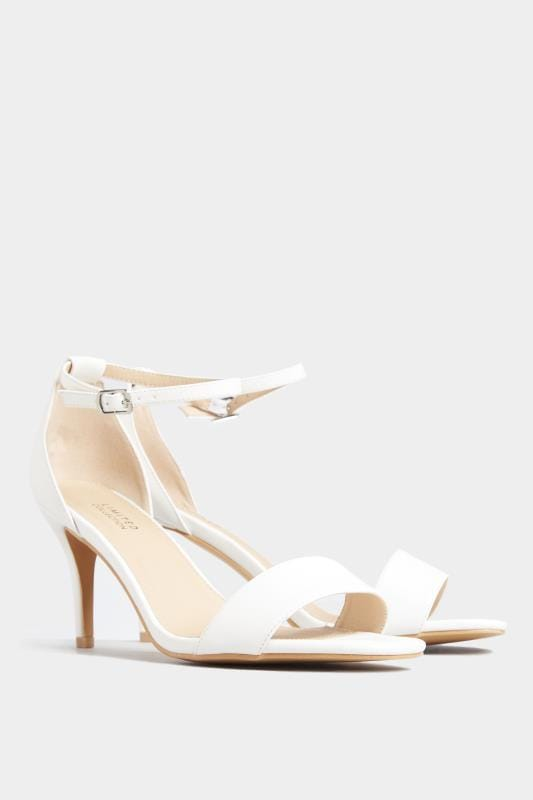 LIMITED COLLECTION White Strappy Heels In Extra Wide Fit