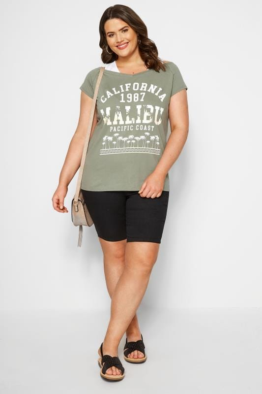 Khaki Cold Shoulder Slogan T-shirt
