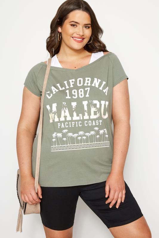 Khaki Cold Shoulder Slogan T-shirt