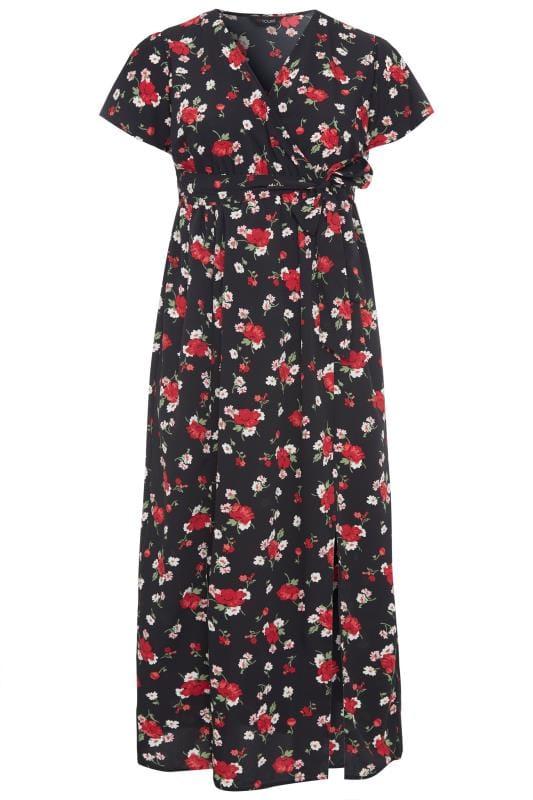 Plus Size Maxi Dresses Black Floral Wrap Maxi Dress
