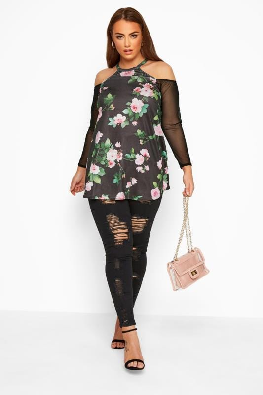 Plus Size Cold Shoulder Tops & Bardot Tops LIMITED COLLECTION Black Floral Cold Shoulder Mesh Sleeve Top