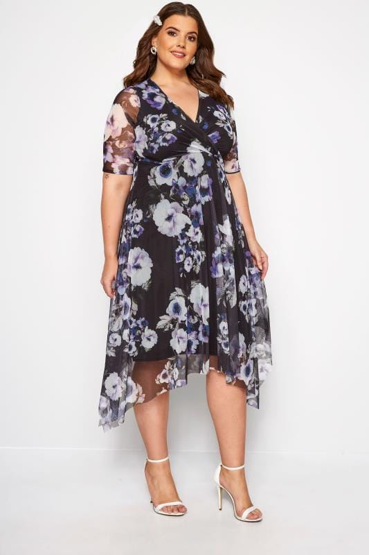 Black Floral Mesh Wrap Dress