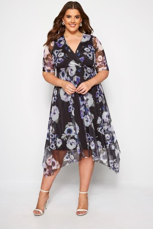 Plus Size Wrap Dresses Black Floral Mesh Wrap Dress