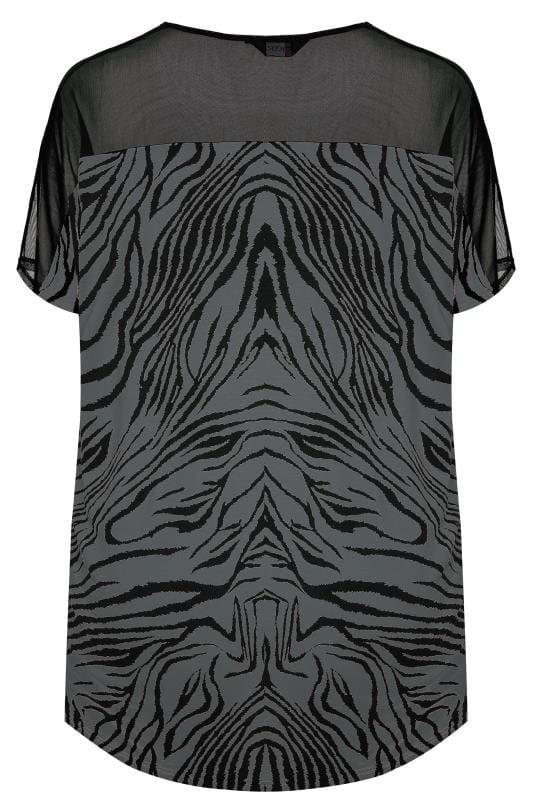 Grey Zebra Print Mesh Top