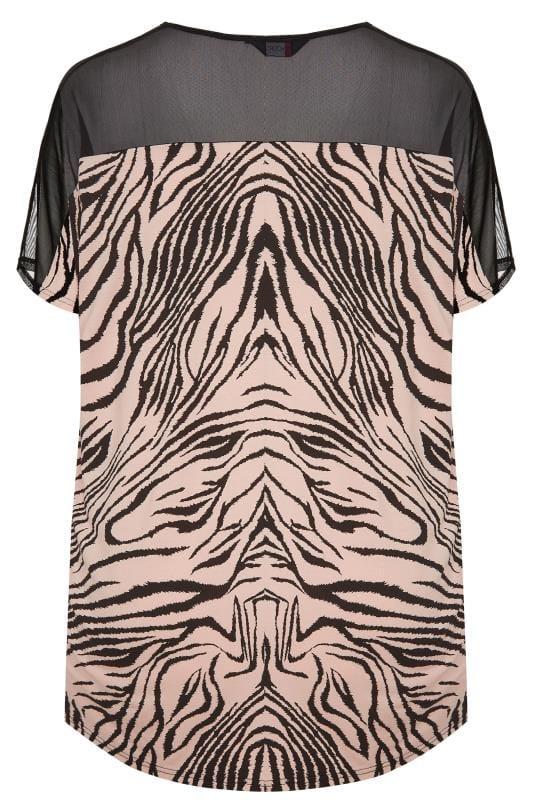 Pink Zebra Print Mesh Top