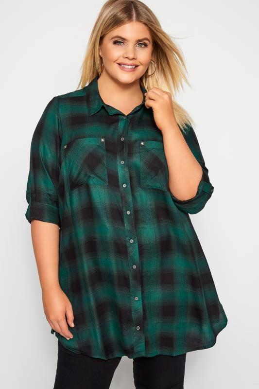 Plus Size Shirts Green & Black Metallic Check Boyfriend Shirt