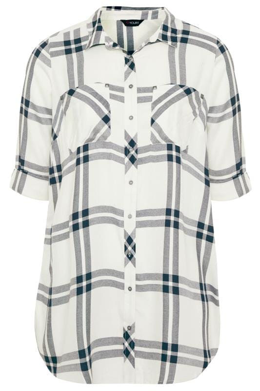 Plus Size Shirts White Check Studded Boyfriend Shirt