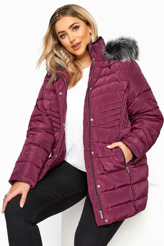 Puffer & Quilted Jackets Berry Panelled Puffer Coat