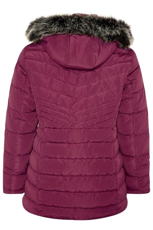 Berry Panelled Puffer Coat