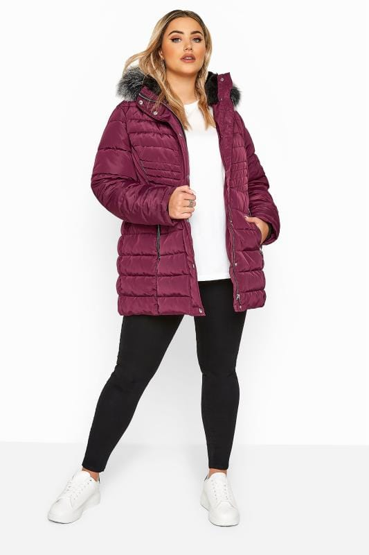 Plus Size Puffer & Quilted Jackets Berry Panelled Puffer Coat