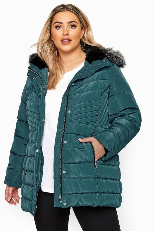 Puffer & Quilted Jackets Teal Green Panelled Puffer Coat