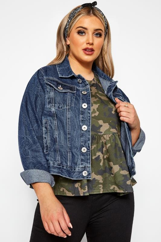 Plus-Größen Denim Jackets Mid Blue Cropped Denim Jacket