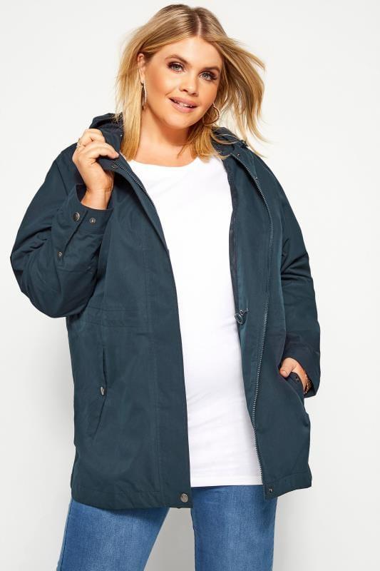 Raincoats & Jackets dla puszystych Navy Waterproof Jacket