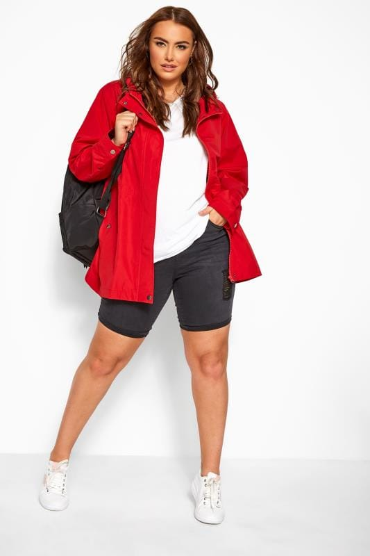 Plus Size Raincoats & Jackets Red Zip Through Hooded Jacket