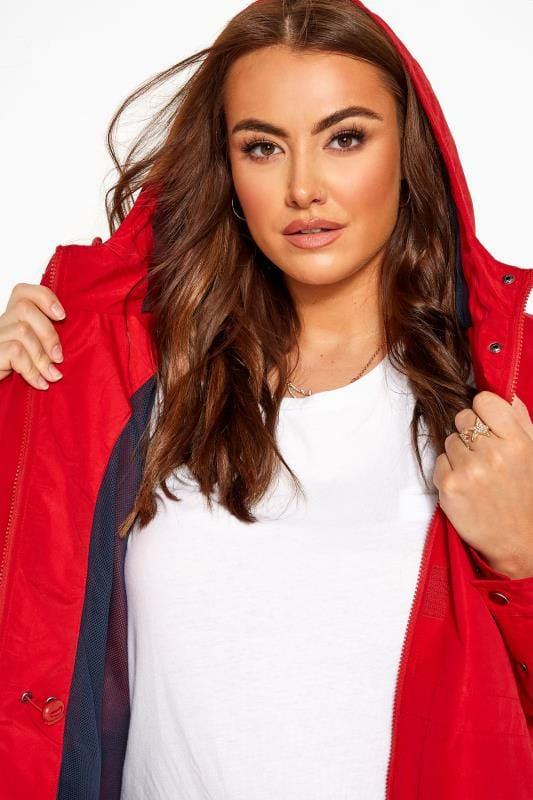 Red Zip Through Hooded Jacket