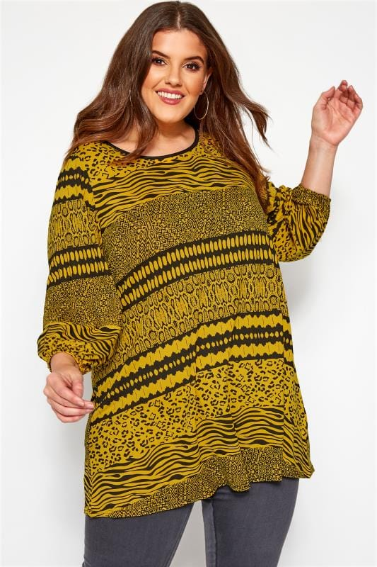 Plus Size Day Tops Mustard Mixed Animal Print Top