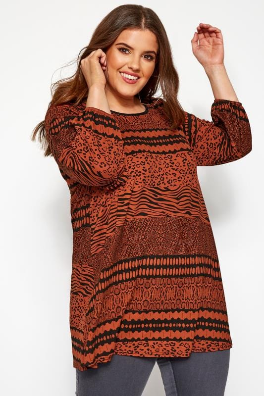 Plus Size Day Tops Rust Mixed Animal Print Top