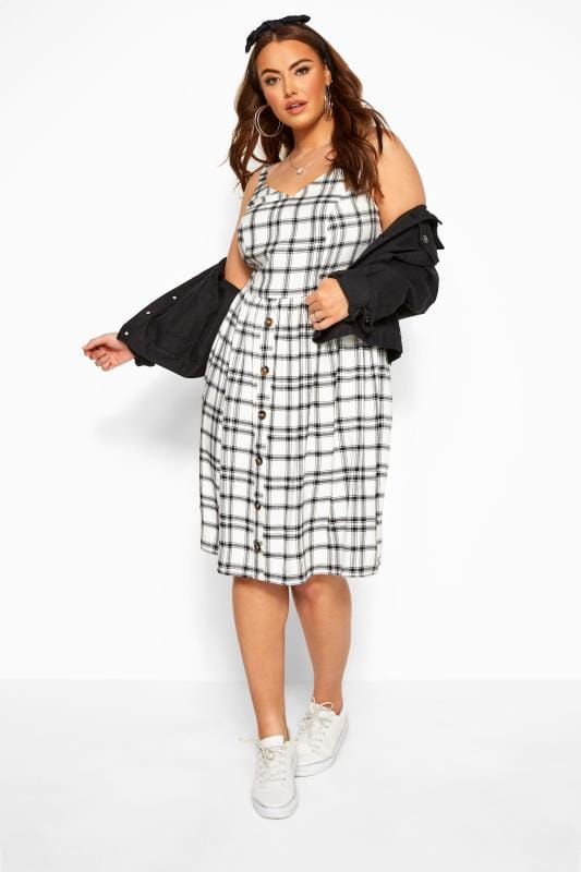 Plus Size Casual Dresses Black & White Check Print Sundress