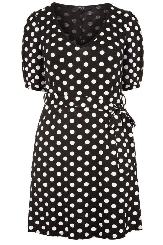 Plus Size Swing Dresses Black & White Polka Dot Swing Dress