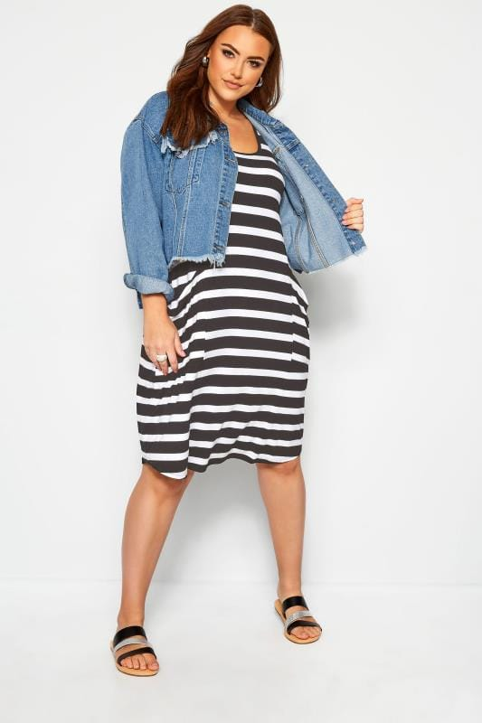 Plus Size Black Dresses Black & White Stripe Sleeveless Drape Pocket Dress