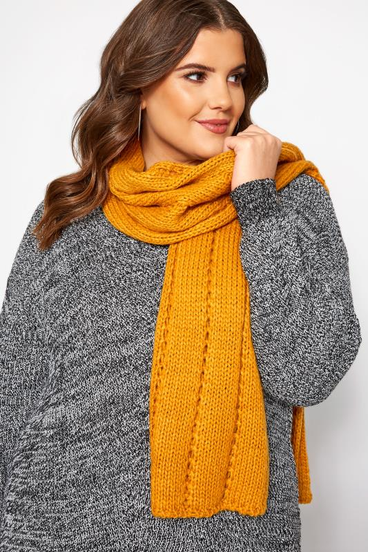 Plus Size Scarves Mustard Knitted Scarf