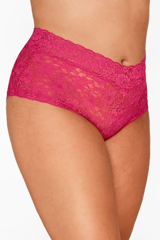 Plus Size Shorts dla puszystych Magenta Pink Lace Shorts