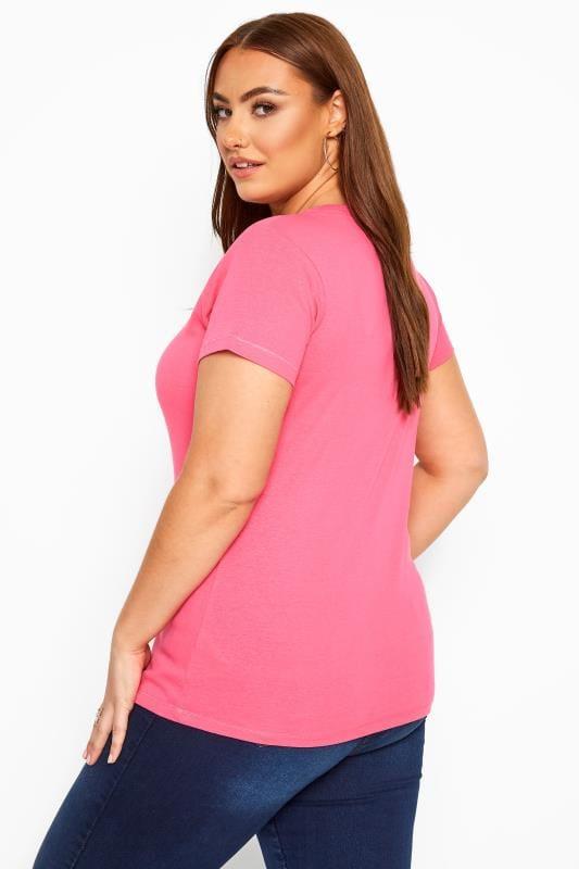 Magenta Pink V-Neck T-Shirt