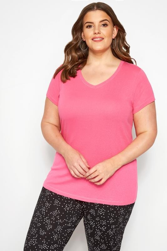 Plus Size T-Shirts Magenta Pink V-Neck T-Shirt