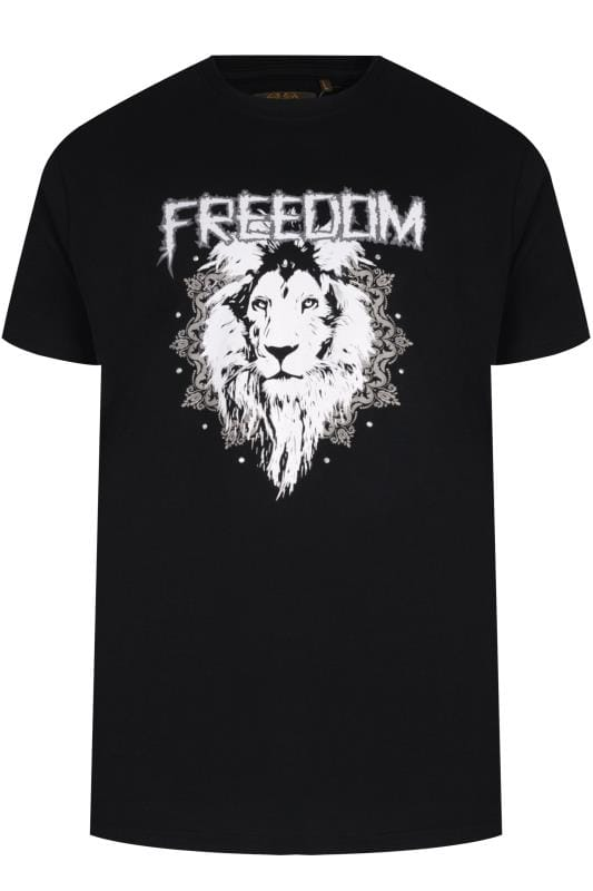 Plus Size T-Shirts MCCARTHY Black Stud Lion Graphic Print T-Shirt