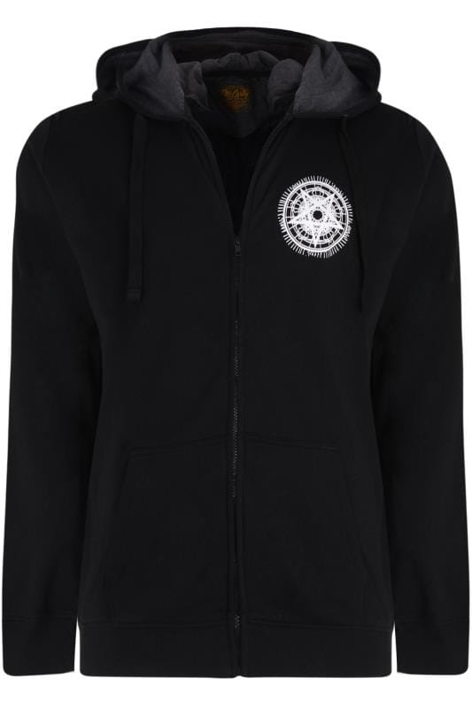 Plus-Größen Hoodies MCCARTHY Black Pentagram Printed Zip Through Hoodie