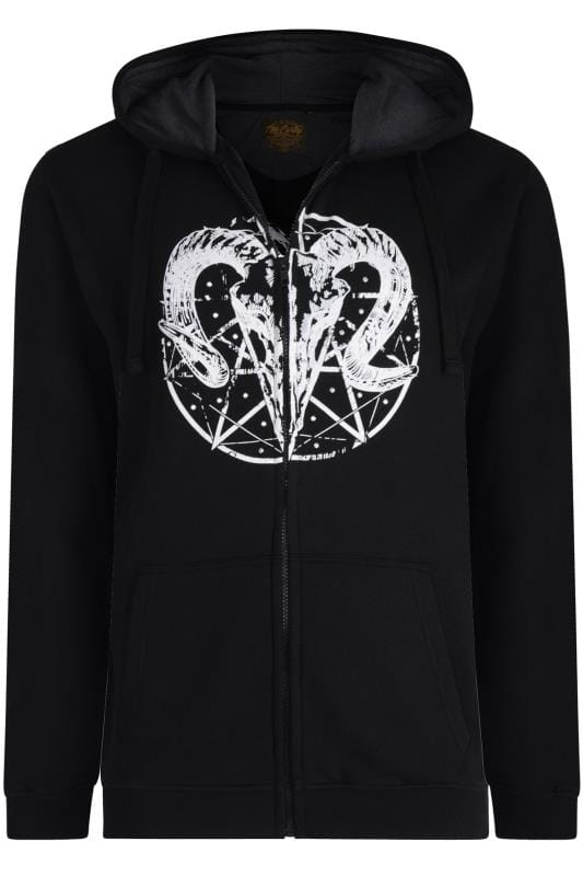Plus Size Hoodies MCCARTHY Black Ram Printed Zip Through Hoodie
