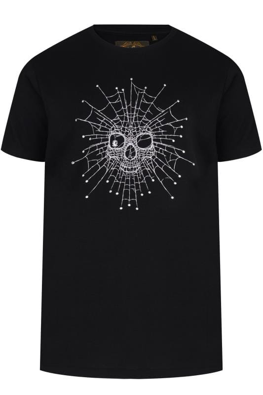 Plus Size T-Shirts MCCARTHY Black Cobweb Skull Printed T-Shirt