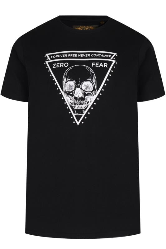 Plus Size T-Shirts MCCARTHY Black Skull Print Studded T-Shirt