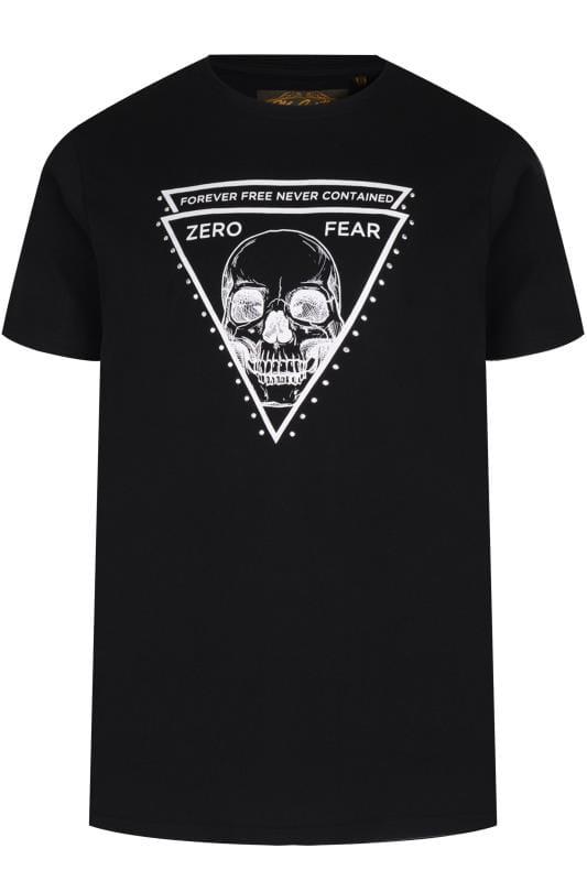 Plus-Größen T-Shirts MCCARTHY Black Skull Print Studded T-Shirt