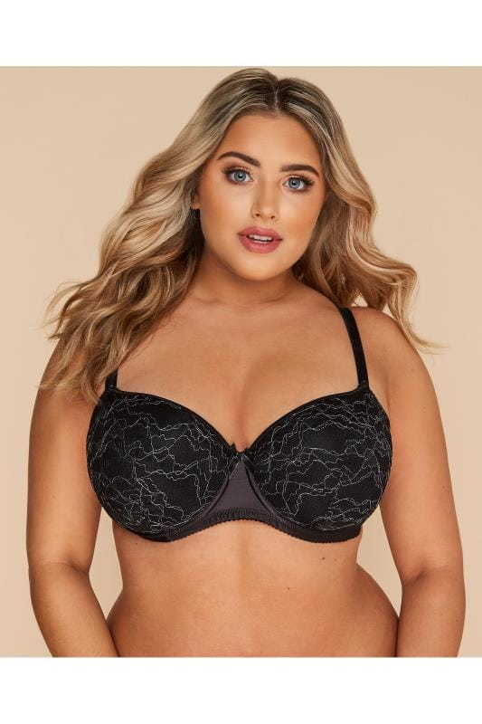 Plus Size Balcony Bras Black Metallic Floral Lace Balcony Bra