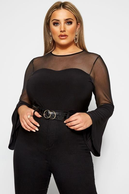 Большие размеры | Party Tops LIMITED COLLECTION Black Mesh Sweetheart Flare Sleeve Top