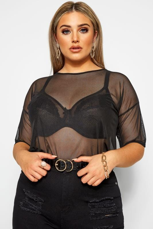 Große Größen Party-Oberteile LIMITED COLLECTION Black Mesh Top