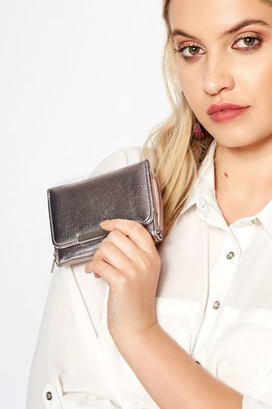 Bags & Purses Metallic Pewter PU Zip Around Purse