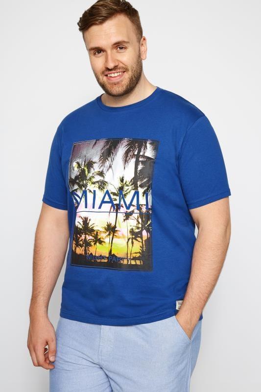 T-Shirts dla puszystych BadRhino Blue 'Miami' Print T-Shirt