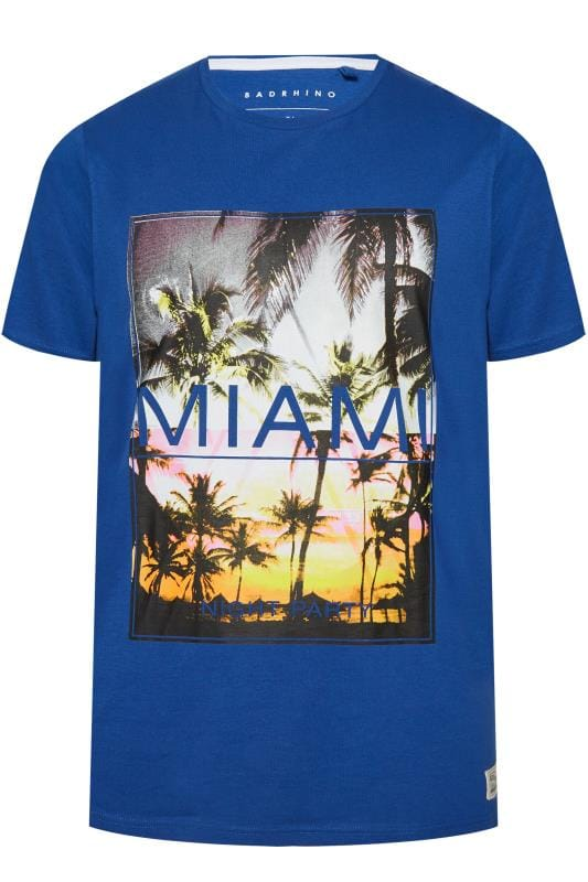 Men's T-Shirts BadRhino Blue 'Miami' Print T-Shirt