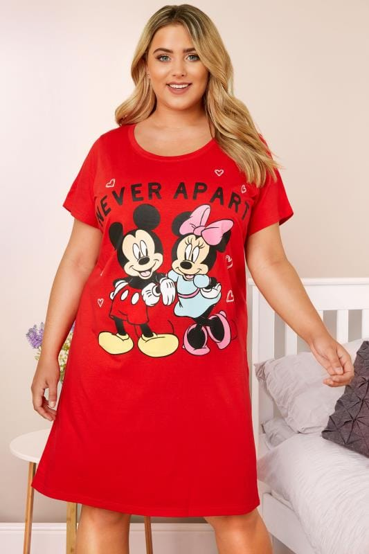 Plus Size Nighties Red Disney Mickey & Minnie Nightdress