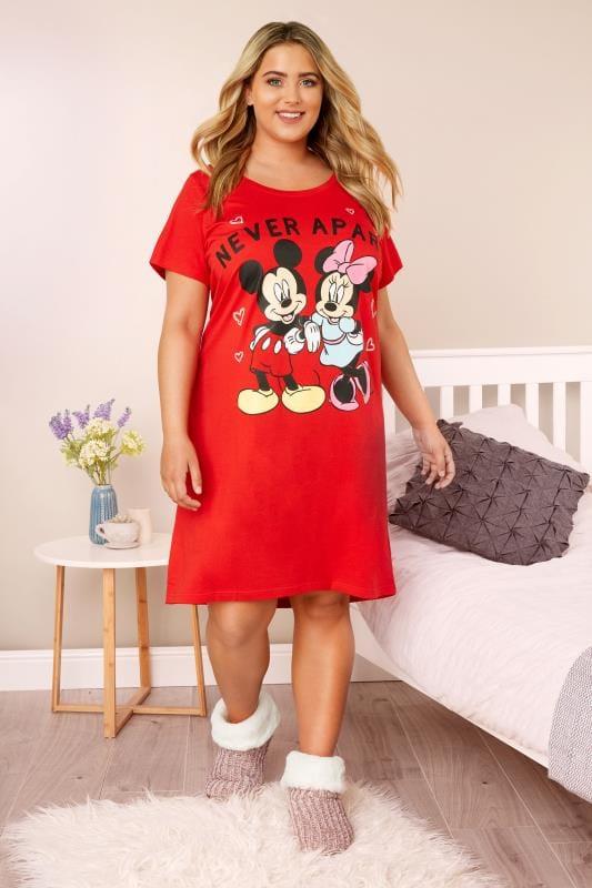 Czerwona koszula nocnaNever apart, Disney, damskie duże  VuU6w